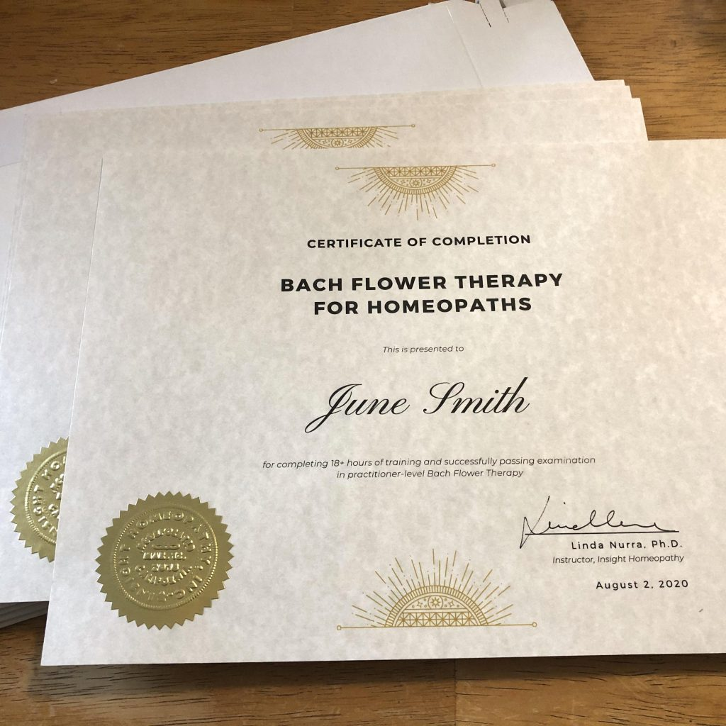 Bach Flower Therapy Course diplomas
